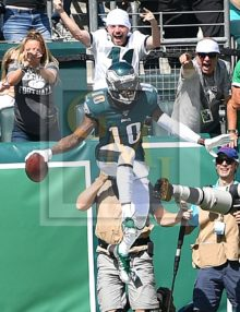 Philadelphia Eagles wide receiver DeSean Jackson celebrates scoring his first of two touchdowns