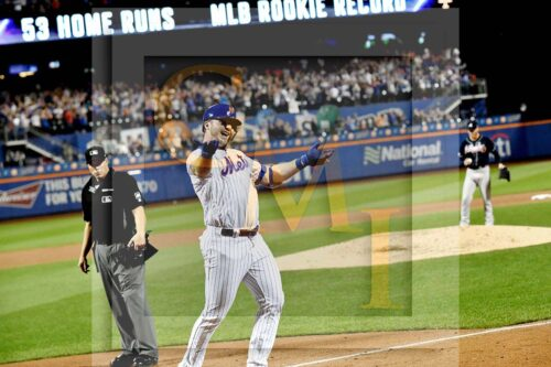 Mets rookie first baseman Pete Alonzo celebrates hitting his record breaking 53rd home run