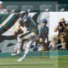 Philadelphia Eagles wide receiver DeSean Jackson receives a 53 yard touchdown pass