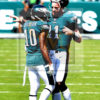 Philadelphia Eagles quarterback Carson Wentz talks to his recently acquired wide receiver De Sean Jackson