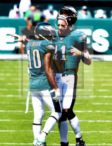 Philadelphia Eagles quarterback Carson Wentz talks to his recently acquired wide receiver De Sean Jackson