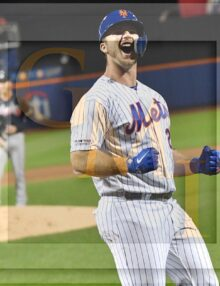 Mets rookie first baseman Pete Alonzo expresses his excitement