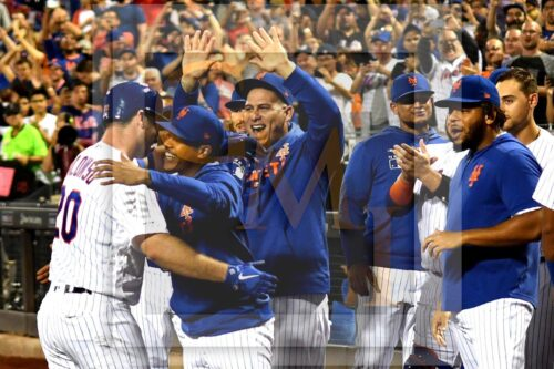 New York Mets teammates congratulate Pete Alonzo