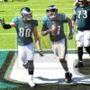 Philadelphia Eagles wide receiver Alshon Jeffrey celebrates scoring on a short pass from Carson Wentz