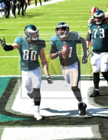Philadelphia Eagles wide receiver Alshon Jeffrey celebrates scoring on a short pass from Carson Wentz