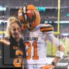 Cleveland Browns fans Pumpkinhead Gus Angelone and Rebecca Papesh