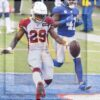 Arizona Cardinals running back Chase Edmonds scores on a 22 yard run