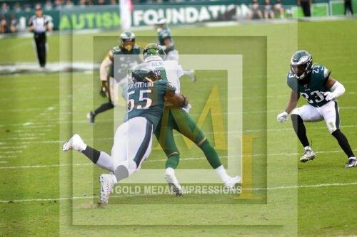 Eagles Brandon Graham sacks New York Jets quarterback in the second period