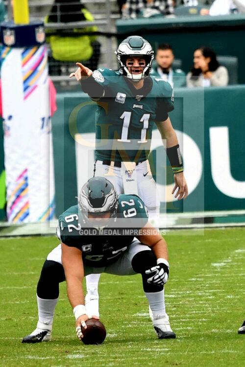 Philadelphia Eagles quarterback Carson Wentz points downfield