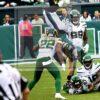 Philadelphia Eagles tight end Dallas Goedert flies through the air