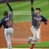 Minnesota Twins infielder Jorge Polanco celebrates home run