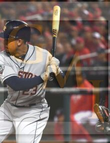Houston Astros left fielder Michael Brantley singles