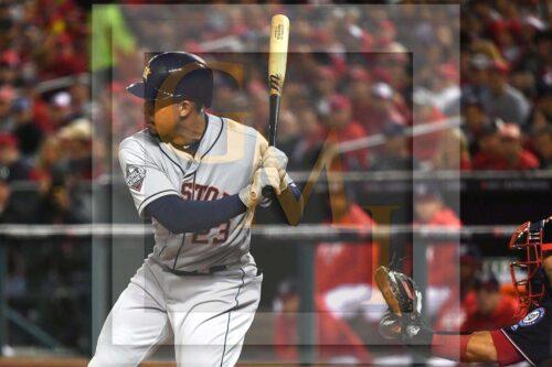 Houston Astros left fielder Michael Brantley singles