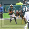 Eagles safety Rodney McLeod picks off a Russell Wilson pass