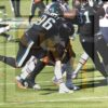 Eagles defensive end Derek Barnett sacks the Chicago Bears quarterback Mitchell Trubisky