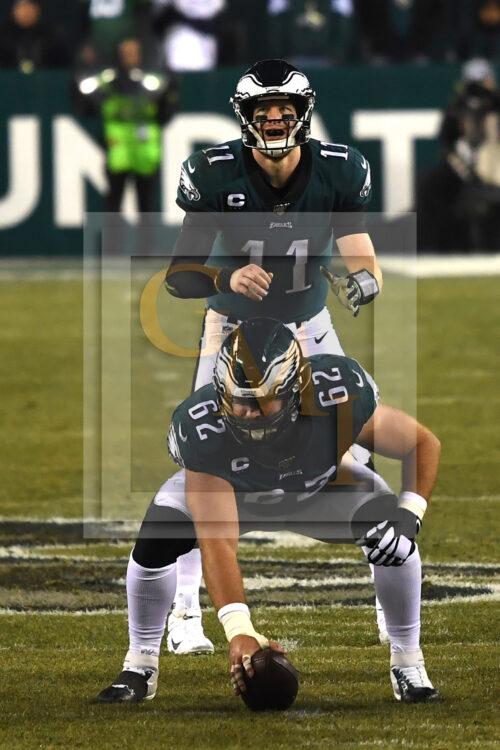 Eagles quarterback CARSON WENTZ barks out signals