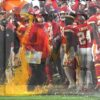 Kansas City Chiefs head coach Andy Reid gets soaked