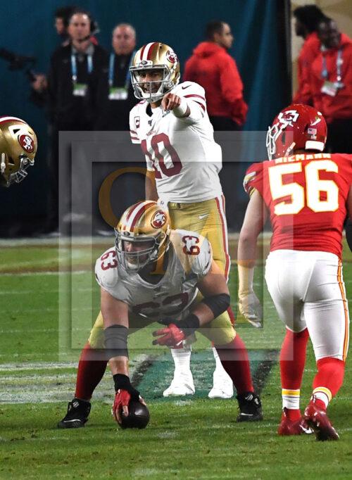 San Francisco 49ers quarterback Jimmy Garoppolo points