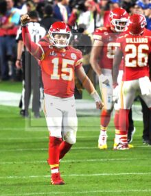 Kansas City Chiefs quarter back Patrick Mahomes celebrates
