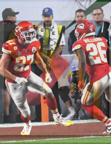 Kansas City Chiefs Travis Kelce celebrates with running back Damien Williams